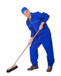 Happy Sweeper Cleaning Floor