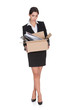 Young Business Woman Holding A Box Of Documents