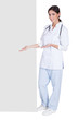 Happy Female Doctor Holding Placard