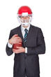 Competitive businessman playing american football