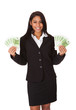 Happy Businesswoman Holding Euro Note In Hand