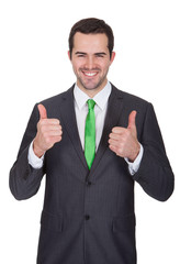 Businessman wearing green tie