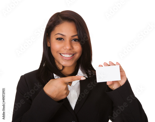 Happy Businesswoman Holding Visiting Card