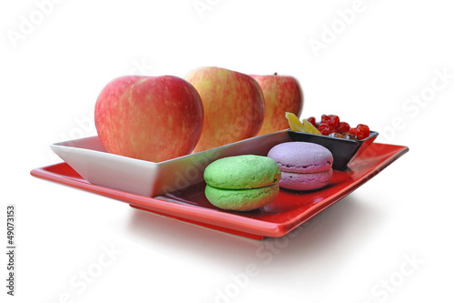 Assiette pommes et macarons