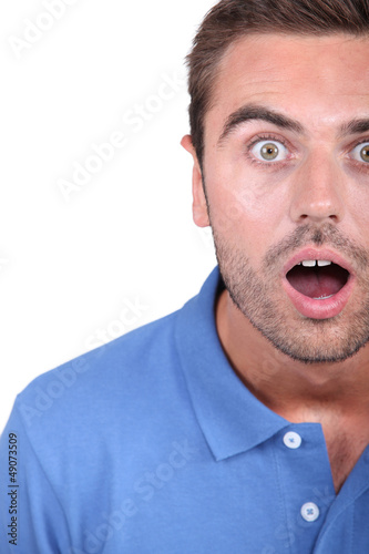 Shocked man with mouth open