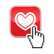 Heart button with cursor hand icon - velntines, love