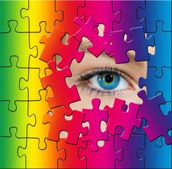 Rainbow puzzle eye