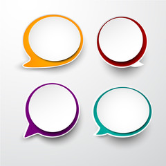 Paper set of rounded speech bubble.