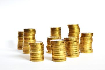 Golden coin piles
