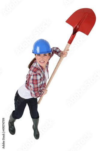 Furious female laborer