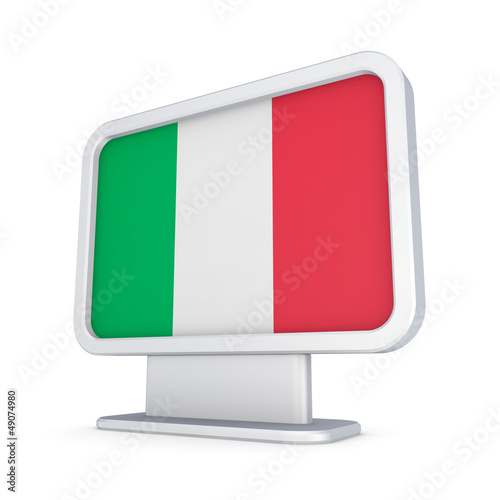 Italian flag in a lightbox.