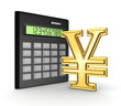 Calculator and yen symbol.