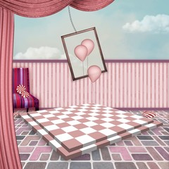 Wonderland series - Pink surreal room