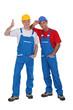 two craftsmen posing together