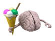 human brain with arms and ice cream