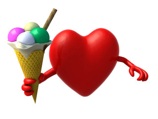 heart with arms and ice cream