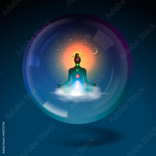 Meditating silhouette sitting in sphere, vector Eps10 image.