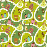 Road seamless pattern with houses and animals