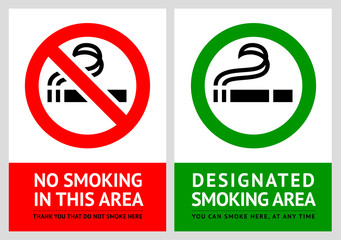 No smoking and Smoking area labels - Set 6