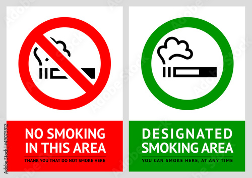 No smoking and Smoking area labels - Set 10