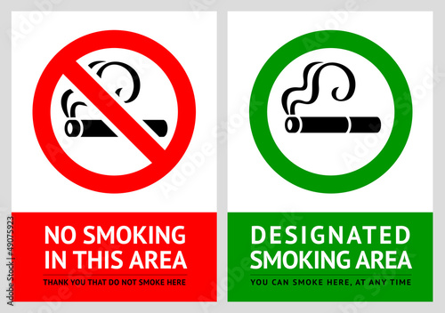 No smoking and Smoking area labels - Set 7