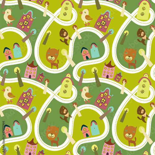 Fotobehang Op straat Road seamless pattern with houses and animals