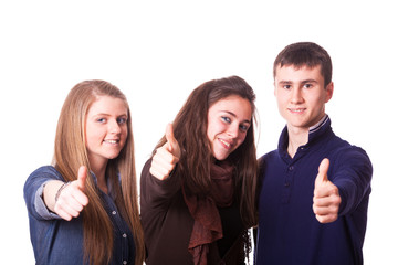Teenage Students with Thumbs Up