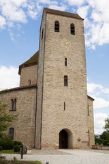 The tower of Ottmarsheim abbey church in France