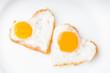 Leinwanddruck Bild - Heart fried eggs