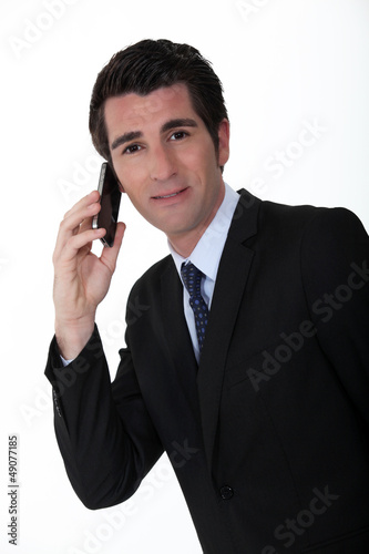 Businessman making telephone call