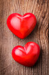Red hearts on wood