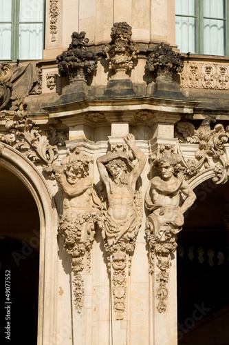 The fragment of the Wallpavilion with satyrs figures in Zwinger
