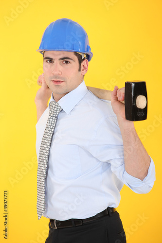 architect holding hammer