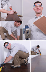 Montage of a man putting down a wooden floor