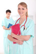 Nurse with red briefcase