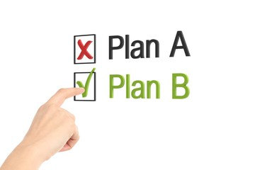 Woman hand checking plan b box