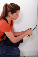 portrait of a female electrician