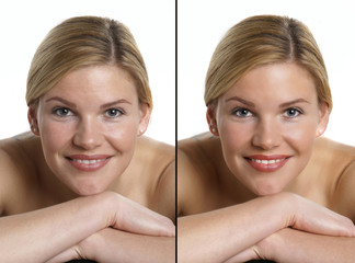 Porträt mit und ohne Bildbearbeitung