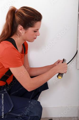 portrait of a female electrician