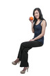 Woman Sitting on Orange