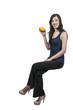 Woman Sitting with a lemon