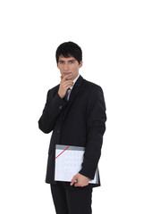 Man accountant standing on white background