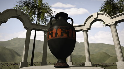 Ancient greek temple with an old vase