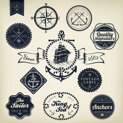 Set Of Vintage Retro Nautical Badges And Labels