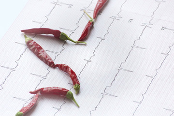 electrocardiogram with dehydrated chillies aligned