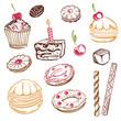 Geburtstag, Kaffee, Kuchen, Süßigkeiten, vector set