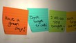 Sticky notes - romantic messages.