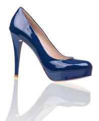 Luxury dark-blue female shoe over white