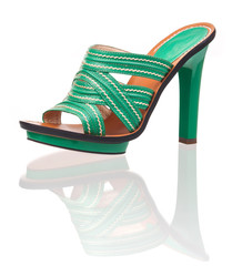 Green women summer shoe over white background