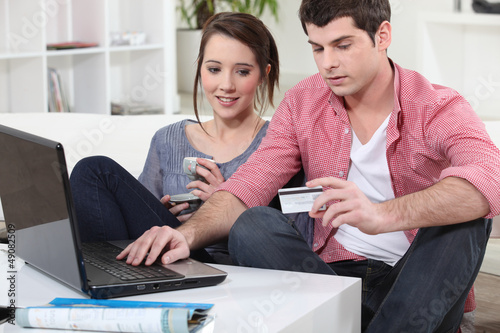Couple shopping on the internet